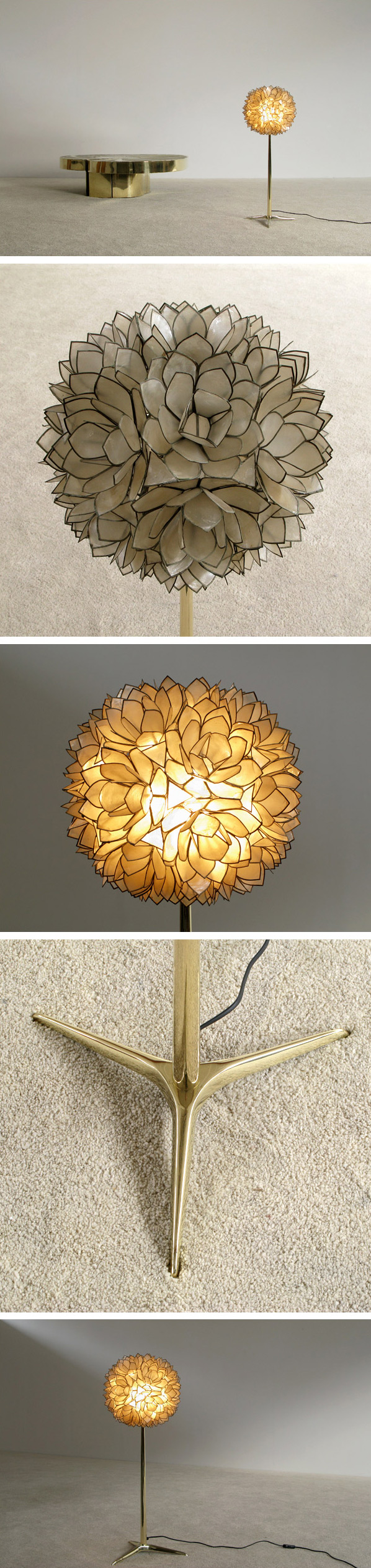Decorative flower ball Mother of Pearl floor lamp Large