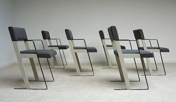 Dick Spierenburg 6 DC chairs for Castelijn 1978