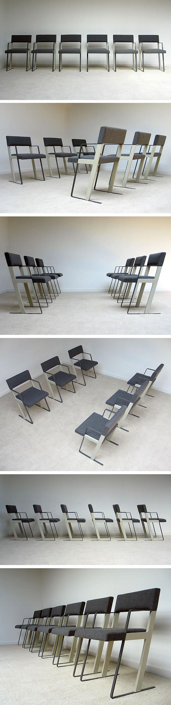 Dick Spierenburg 6 DC chairs for Castelijn 1978 Large