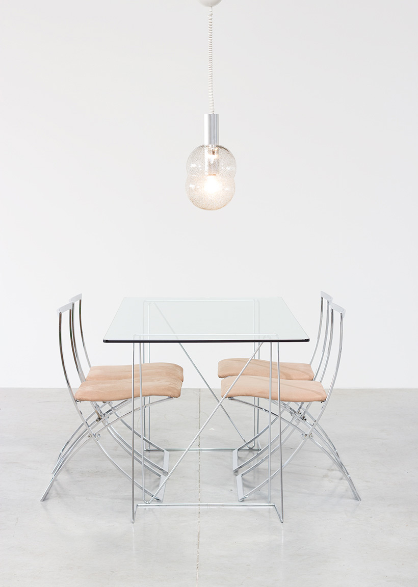 Dinning table with minimalistic modern clean lines circa 1970