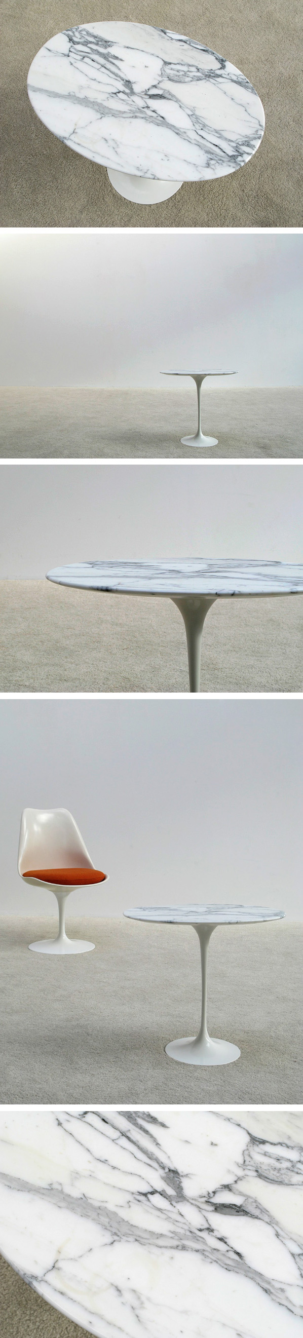 Eero Saarinen marble oval tulip side table Knoll Large