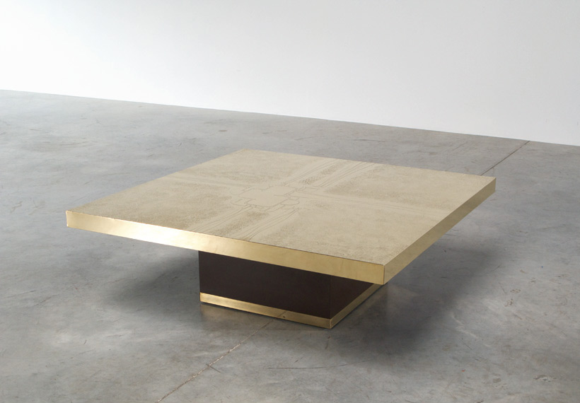Etched brass cocktail coffee table by Ricco D