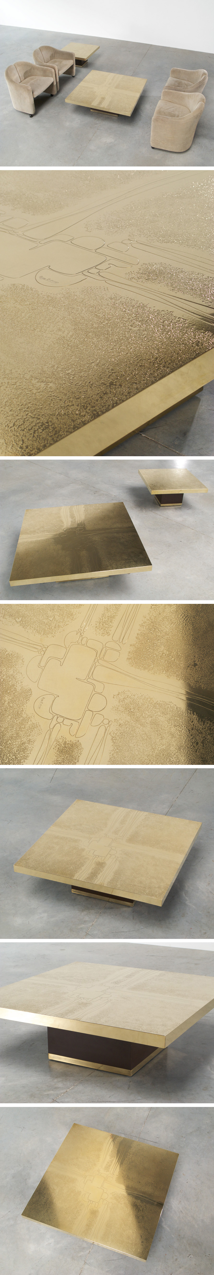 Etched brass cocktail coffee table by Ricco D Large