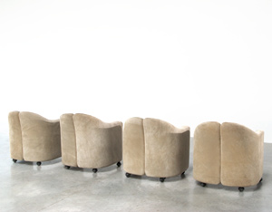 Eugenio Gerli 4 lounge chairs Tecno Milano