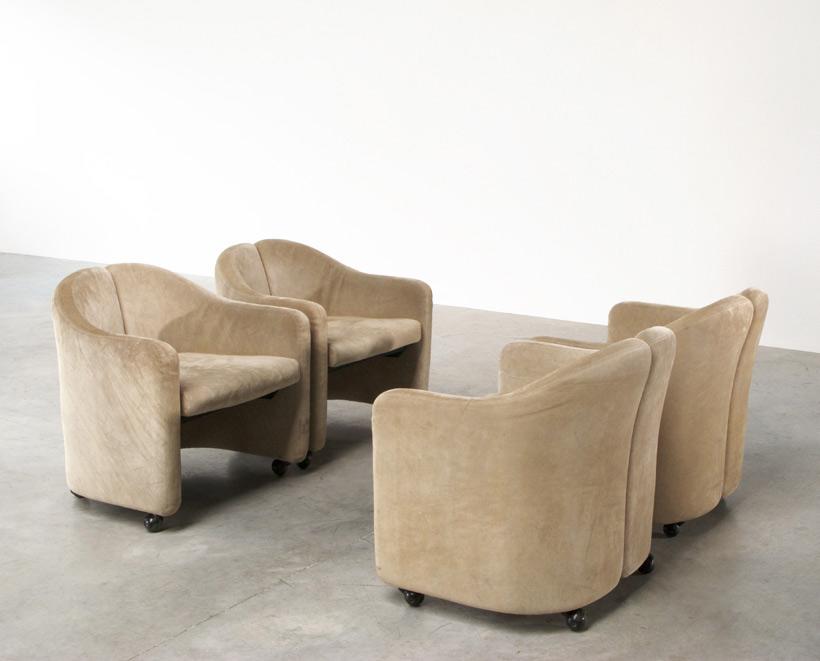 Eugenio Gerli 4 lounge chairs Tecno Milano