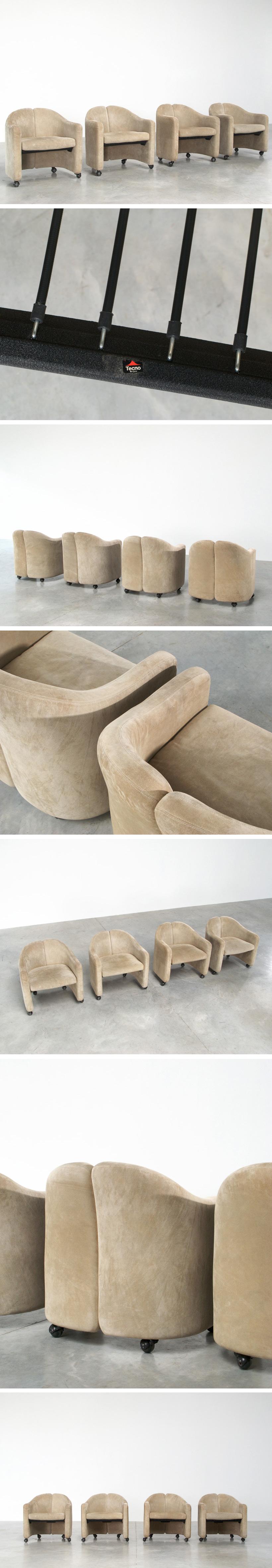 Eugenio Gerli 4 lounge chairs Tecno Milano Large