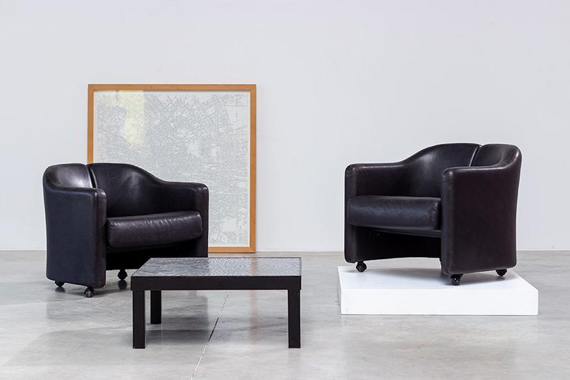 Eugenio Gerli two black leather lounge chairs Tecno Milano img 6
