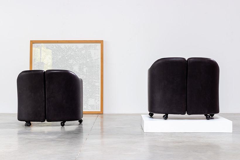 Eugenio Gerli two black leather lounge chairs Tecno Milano img 8