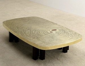 Fernand Dresse brass with agate etched cocktail coffee table