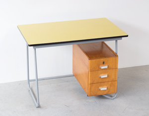 Fifties tubular steel and yellow formica desk 1950