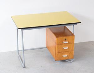 Fifties tubular steel and yellow formica desk 1950