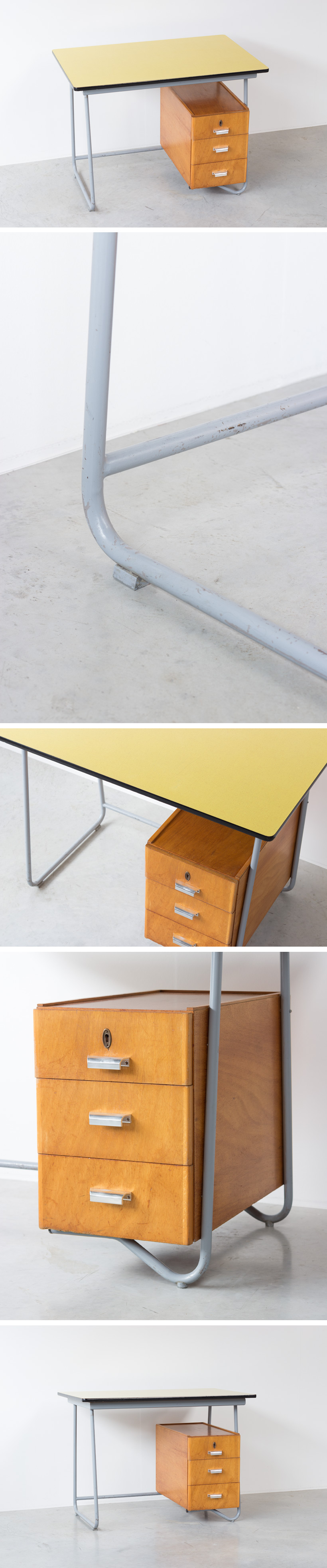 Fifties tubular steel and yellow formica desk 1950 Large