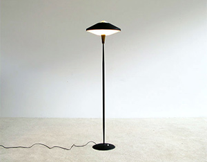 Floor lamp inspired by UFO craze 1950