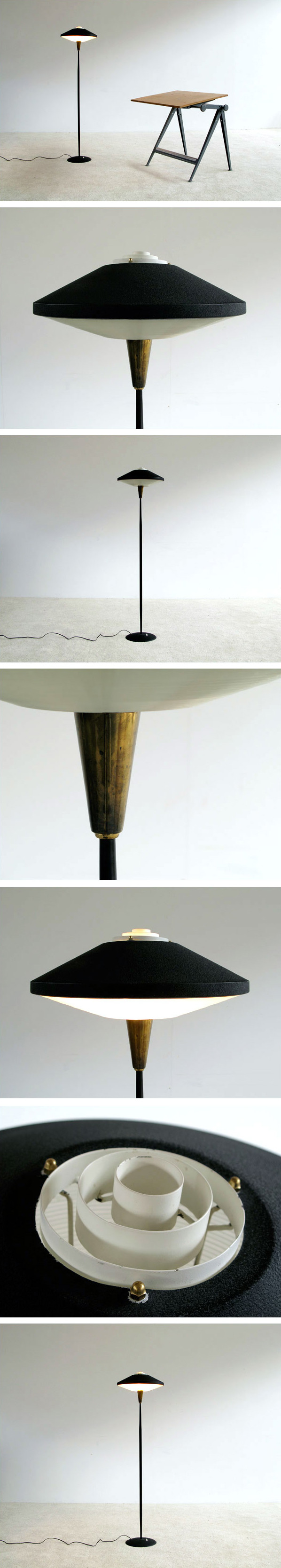 Floor lamp inspired by UFO craze 1950 Large