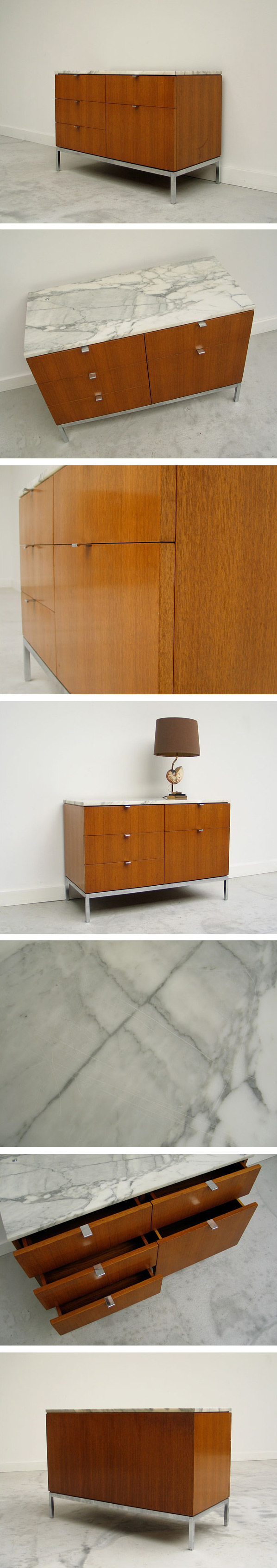 Florence Knoll Case Credenza with marble top Large