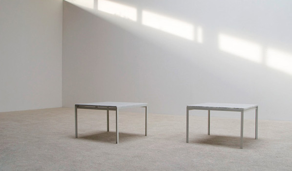 Florence Knoll pair of white marble side tables