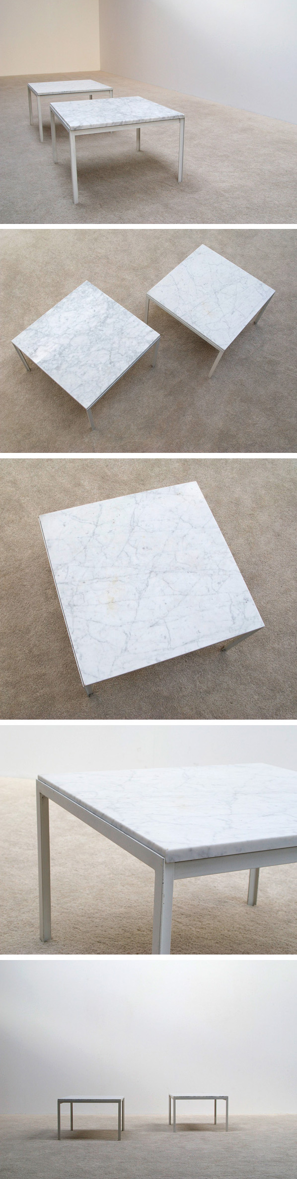 Florence Knoll pair of white marble side tables Large