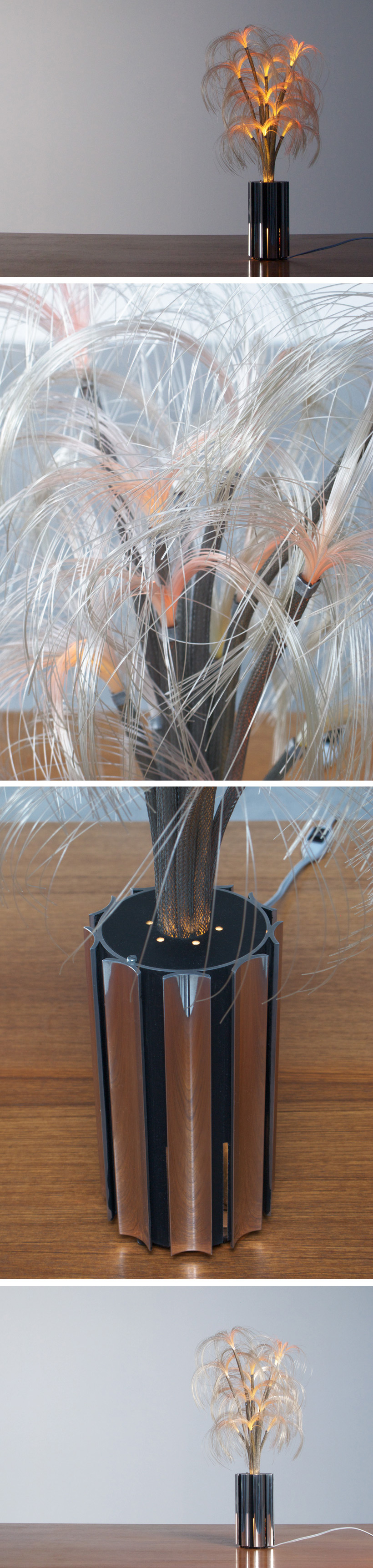 French fibre optic chrome table lamp Starlight Large