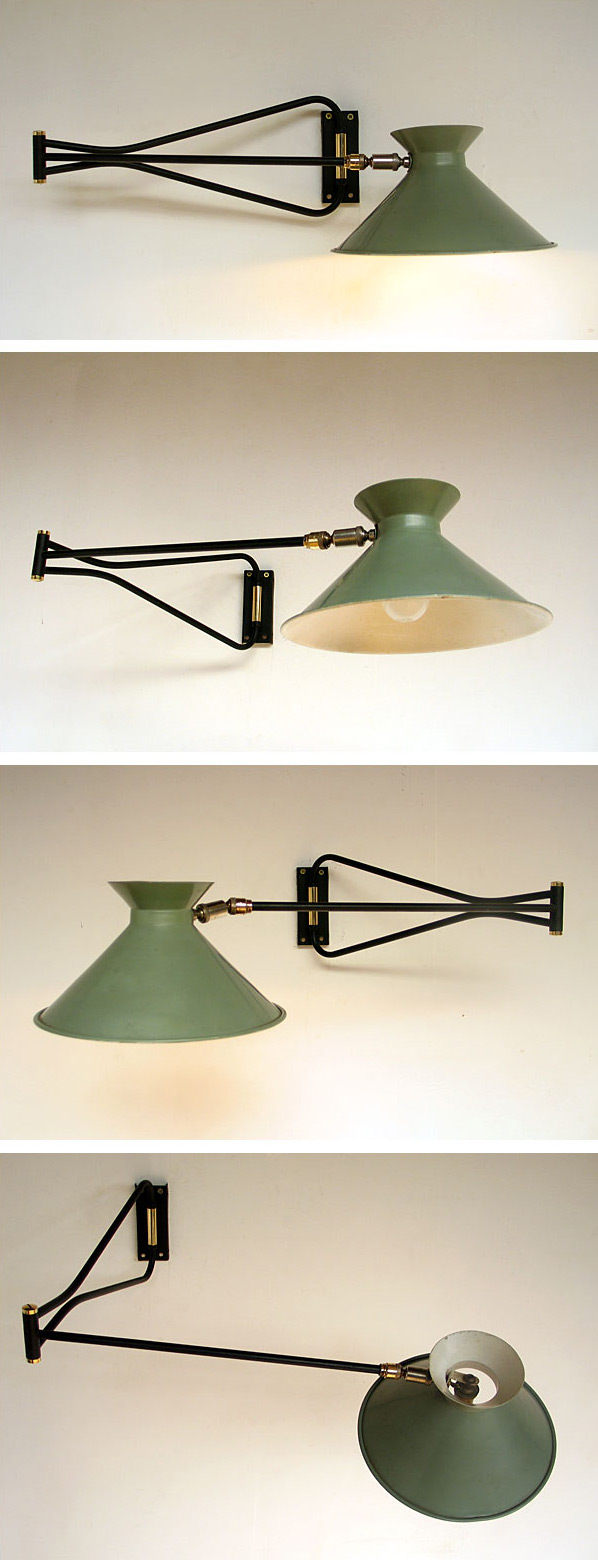French industrial swing lamp Pierre Guariche 1950 Large