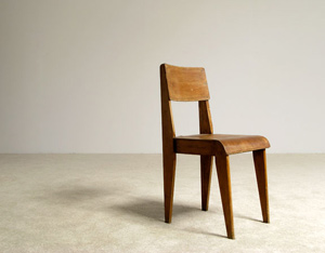 French wooden school chair 1950