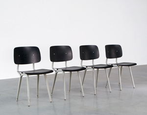 Friso Kramer 4 Black and Grey Revolt chairs Ahrend de Cirkel 1953