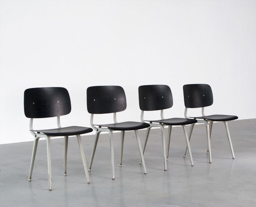 Friso Kramer 4 Black and Grey Revolt chairs Ahrend de Cirkel 1953