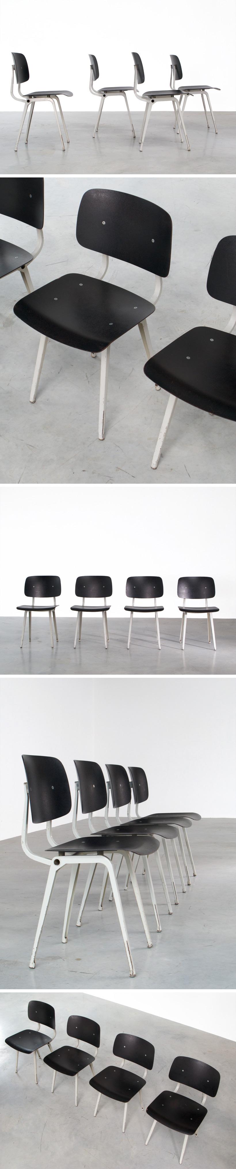 Friso Kramer 4 Black and Grey Revolt chairs Ahrend de Cirkel 1953 Large
