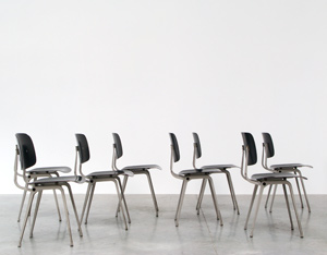 Friso Kramer 8 Black and Grey Revolt chairs for Ahrend de Cirkel 1953