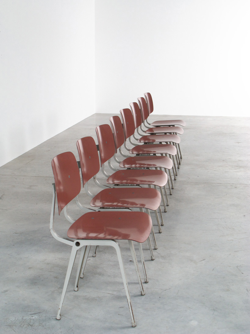 Friso Kramer 8 Maroon and Grey Revolt chairs for Ahrend de Cirkel 1953