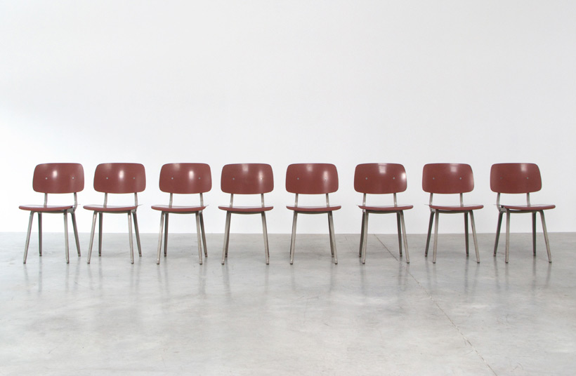 Friso Kramer 8 Maroon and Grey Revolt chairs for Ahrend de Cirkel 1953 img 5