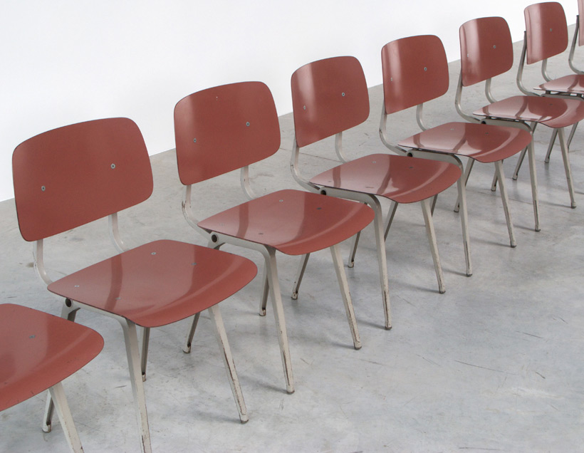 Friso Kramer 8 Maroon and Grey Revolt chairs for Ahrend de Cirkel 1953 img 6