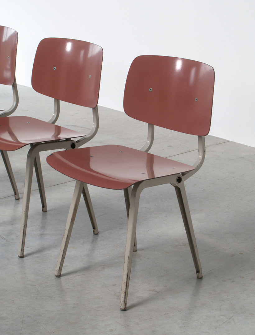 Friso Kramer 8 Maroon and Grey Revolt chairs for Ahrend de Cirkel 1953 img 8