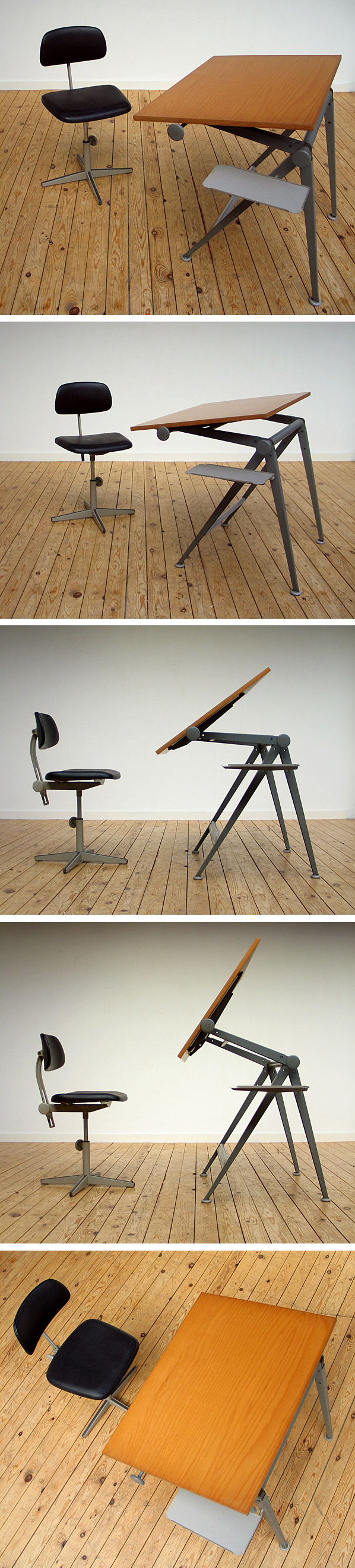 Friso Kramer Industrial drafting table and chair 1954 Large