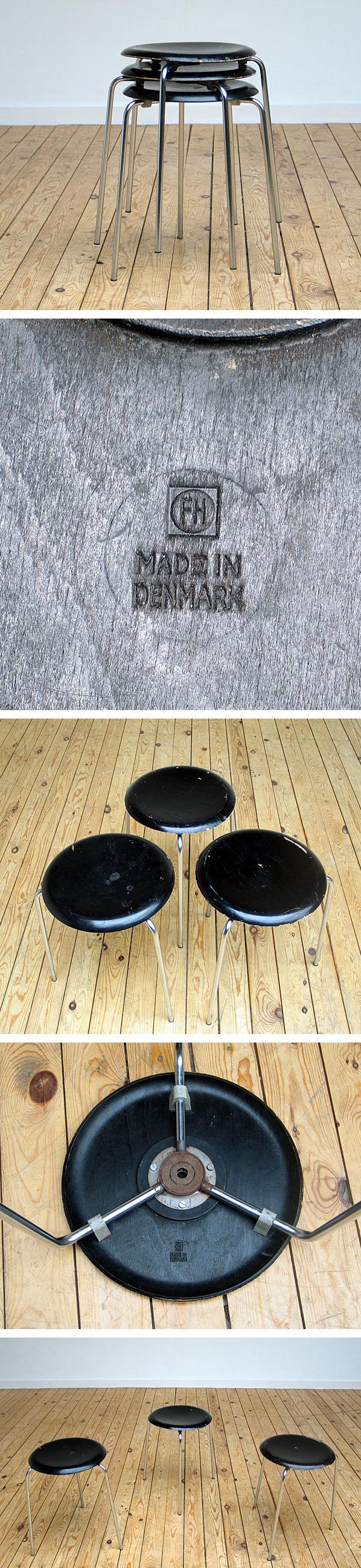 Fritz Hansen stacking stools 1963 model no. 3170 Large