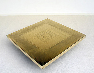 George Mathias etched brass coffee table 1970