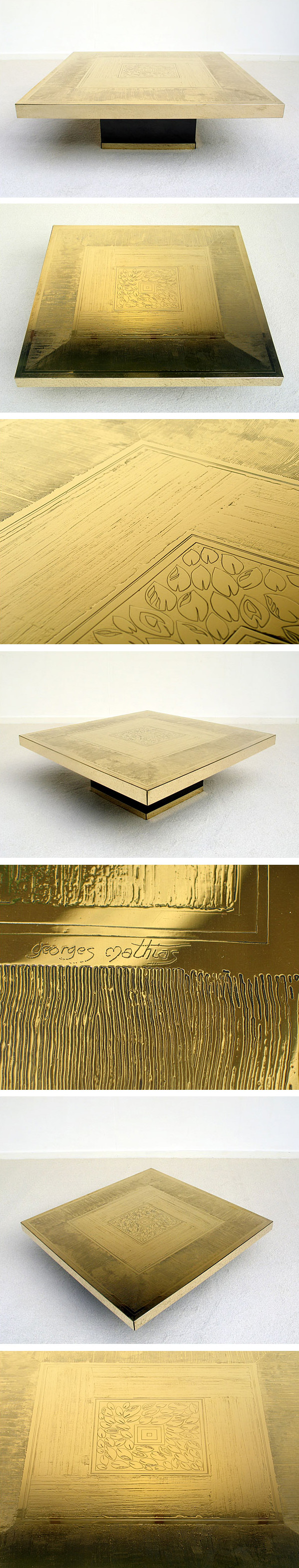George Mathias etched brass coffee table 1970 Large