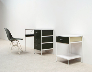 George Nelson desk with cabinet and Eames chair