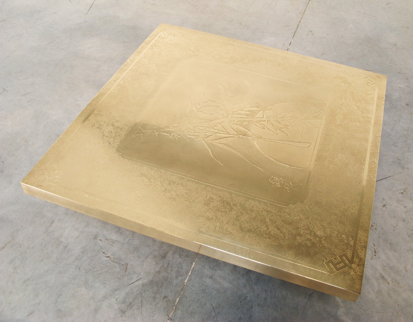 Georges Mathias etched brass cocktail coffee table