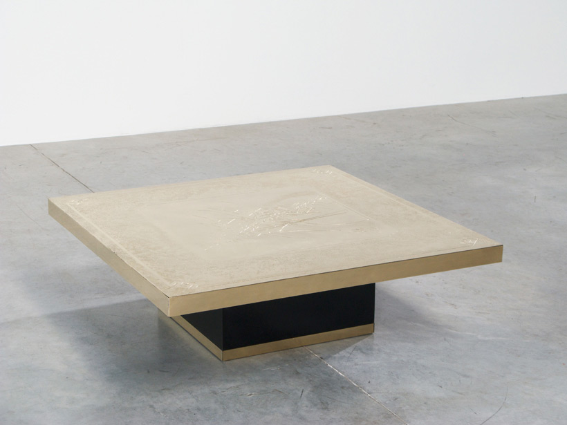 Georges Mathias etched brass cocktail coffee table Large