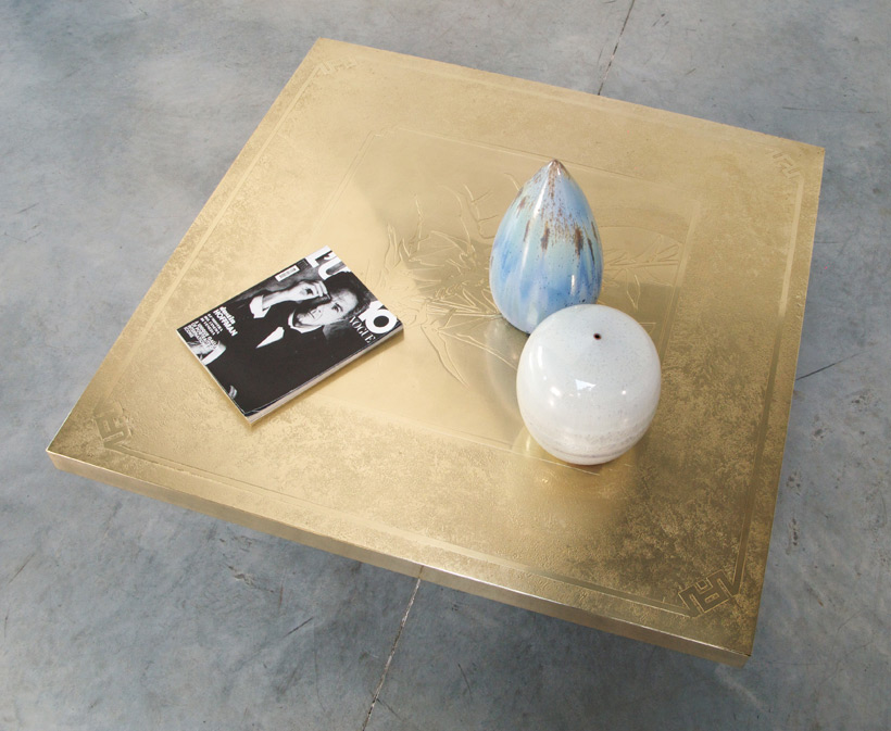 Georges Mathias etched brass cocktail coffee table img 9