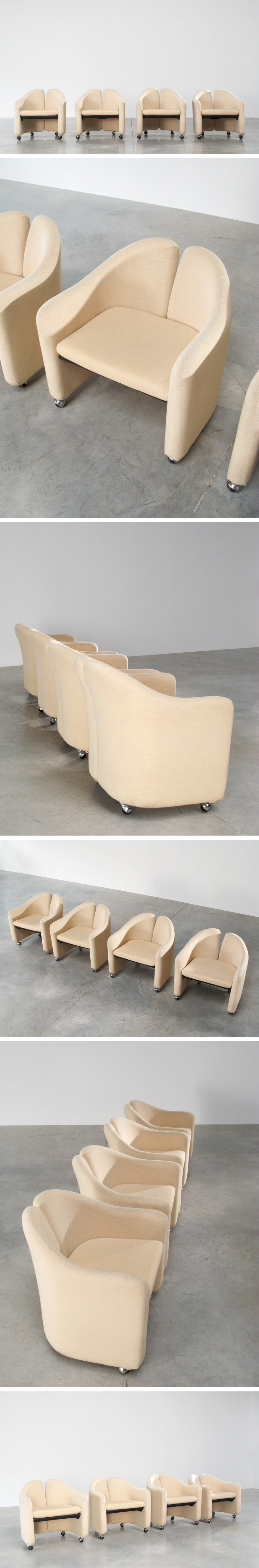 Gerli Eugenio 4 lounge chairs Tecno Milano Large