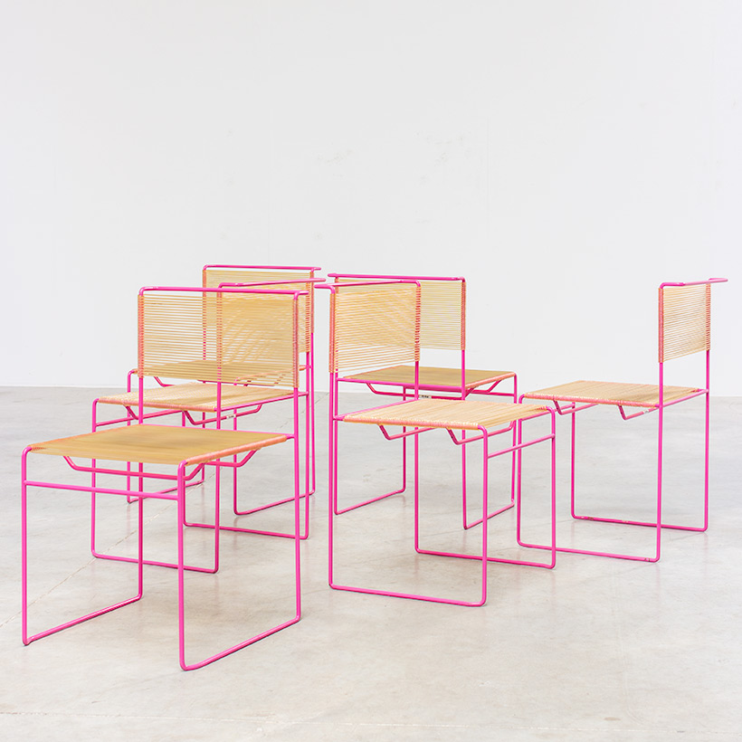 Giandomenico Belotti six dining chairs for fly line 1970s