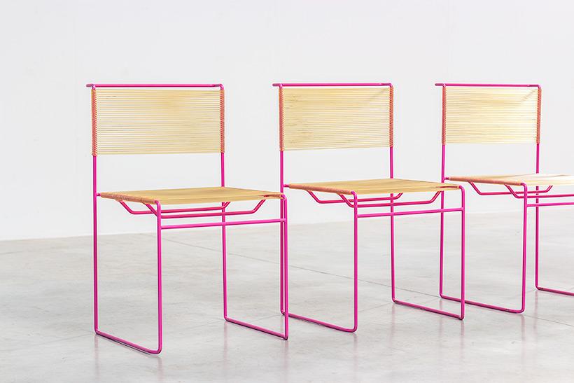 Giandomenico Belotti six dining chairs for fly line 1970s img 3