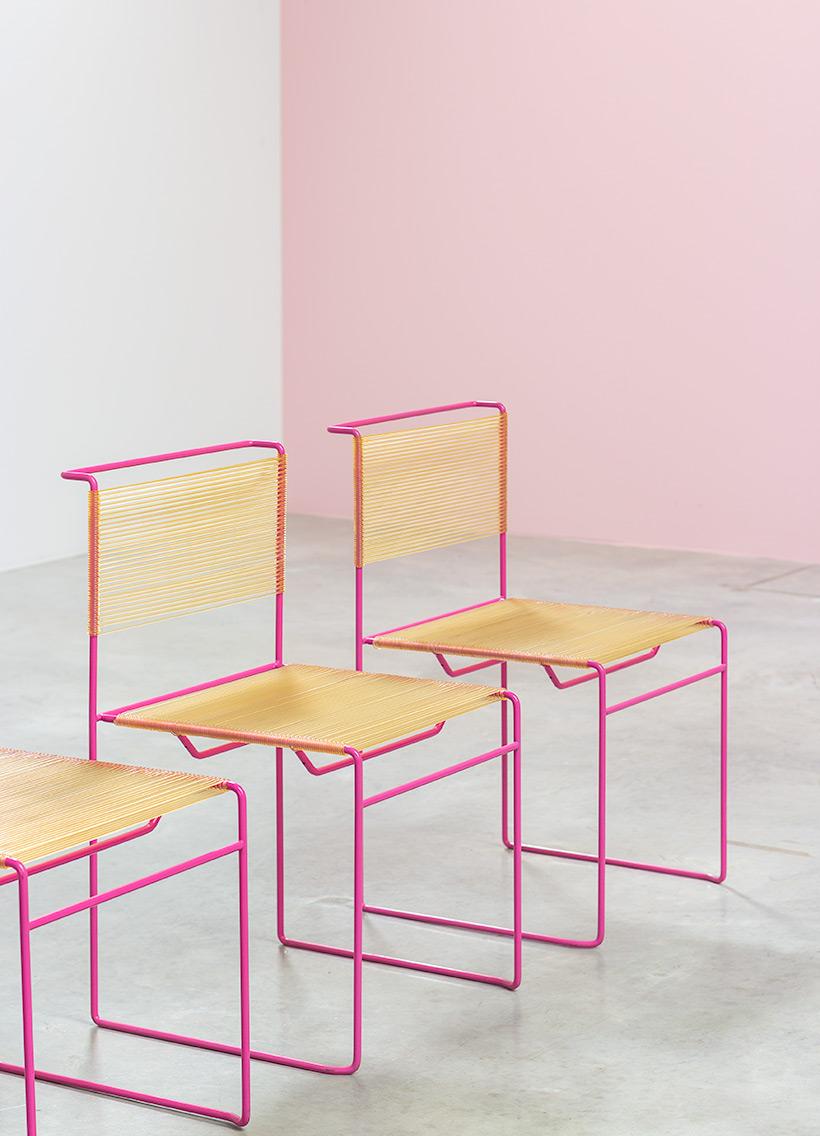 Giandomenico Belotti six dining chairs for fly line 1970s img 4