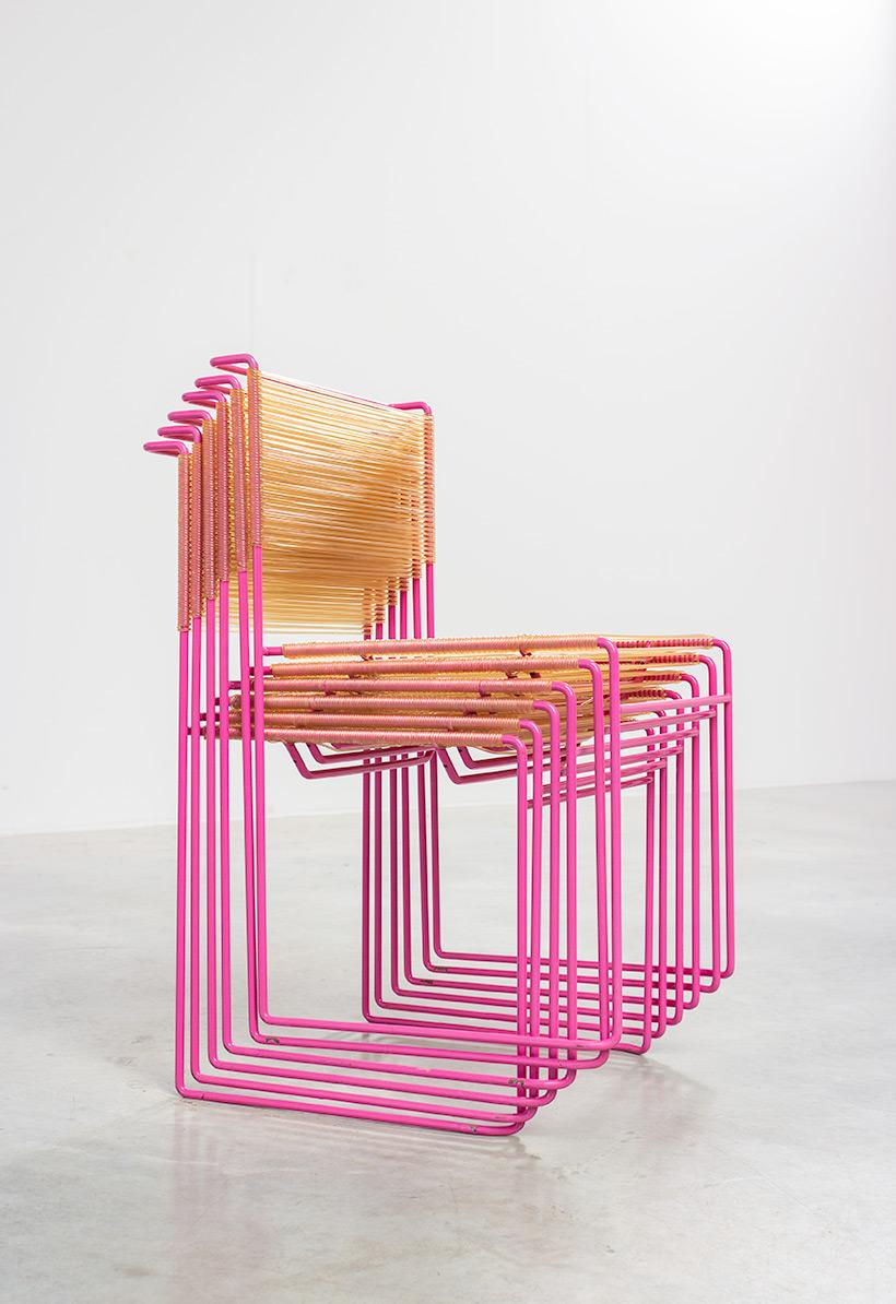 Giandomenico Belotti six dining chairs for fly line 1970s img 5