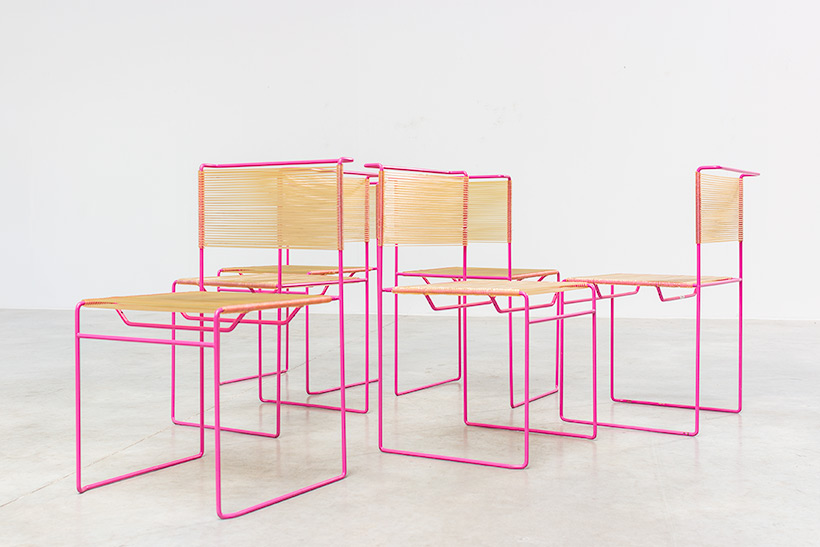Giandomenico Belotti six dining chairs for fly line 1970s img 7