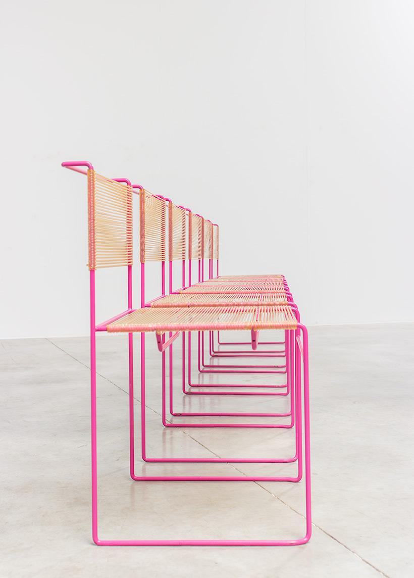 Giandomenico Belotti six dining chairs for fly line 1970s img 8