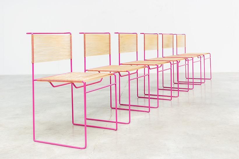 Giandomenico Belotti six dining chairs for fly line 1970s img 9