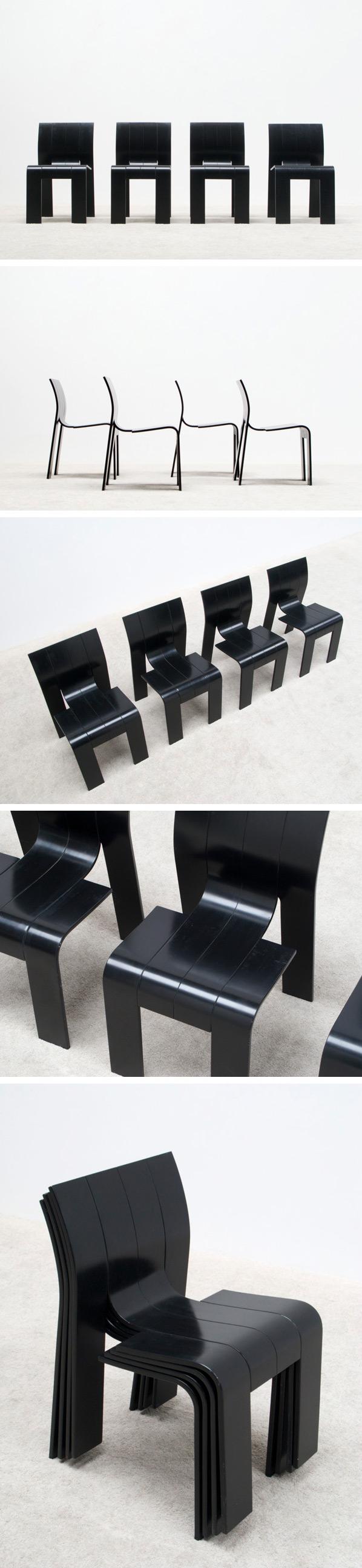 Gijs Bakker 4 strip chairs SC for Castelijn Large