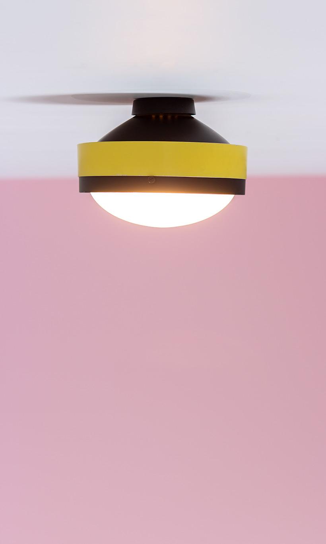 Gino Sarfatti Arteluce yellow and black ceiling light 3027 p